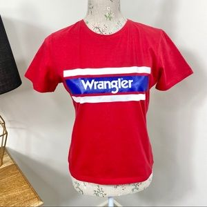Wrangler T-Shirt Cropped Red Short Sleeve Size 10